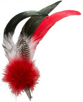 Hat Brooch, Rooster Feather, Red