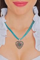 Vorschau: Herzkette mit Stein und 2 Satinbändern, türkis