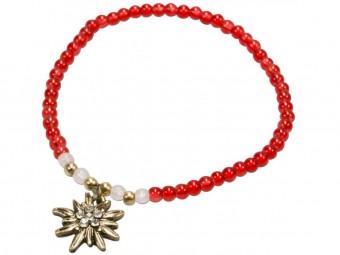 Trachten Perlenarmband Edelweiß rot