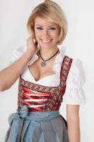 3-piece longer-length red dirndl with colourful floral design