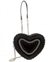 Vorschau: Herzförmige Trachtentasche schwarz