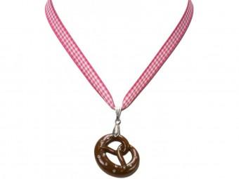 Trachten Halskette Brezel pink