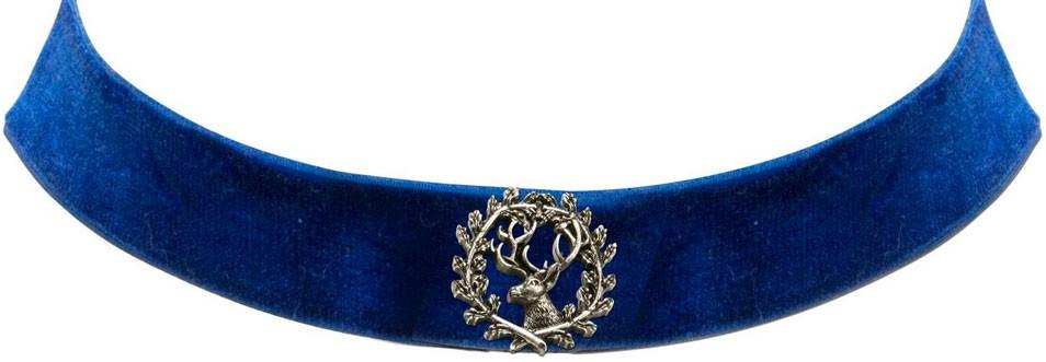 Trachten Kropfband mit Hirsch blau