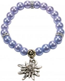 Perlenarmband Laura Edelweiß hellblau
