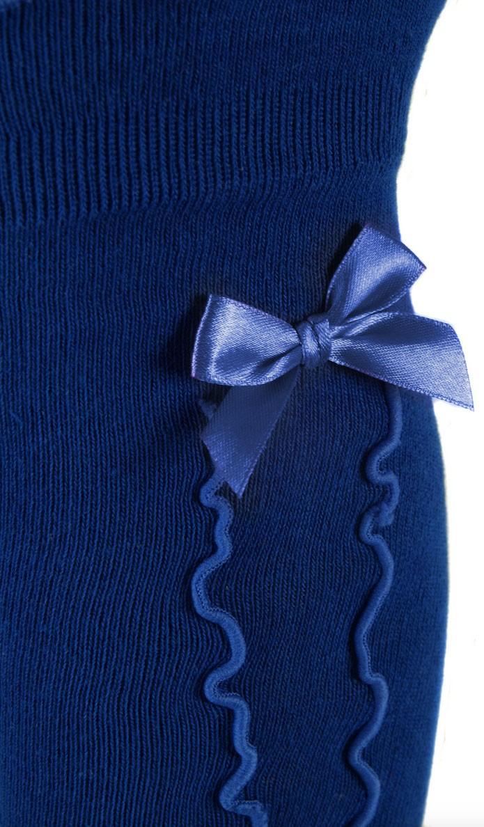 Damen Kniestrümpfe royalblau mit Rüsche und Schleife