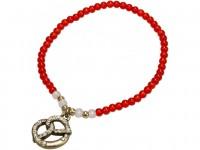 Trachten Perlenarmband mit Strass-Brezel rot