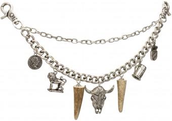 Charivari Chain with Bull Pendant, Antique Silver