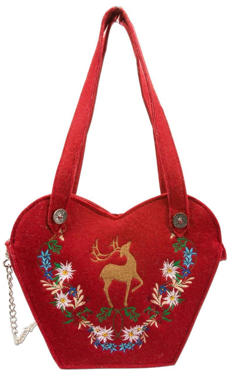 Filz-Trachtentasche Hirsch rot