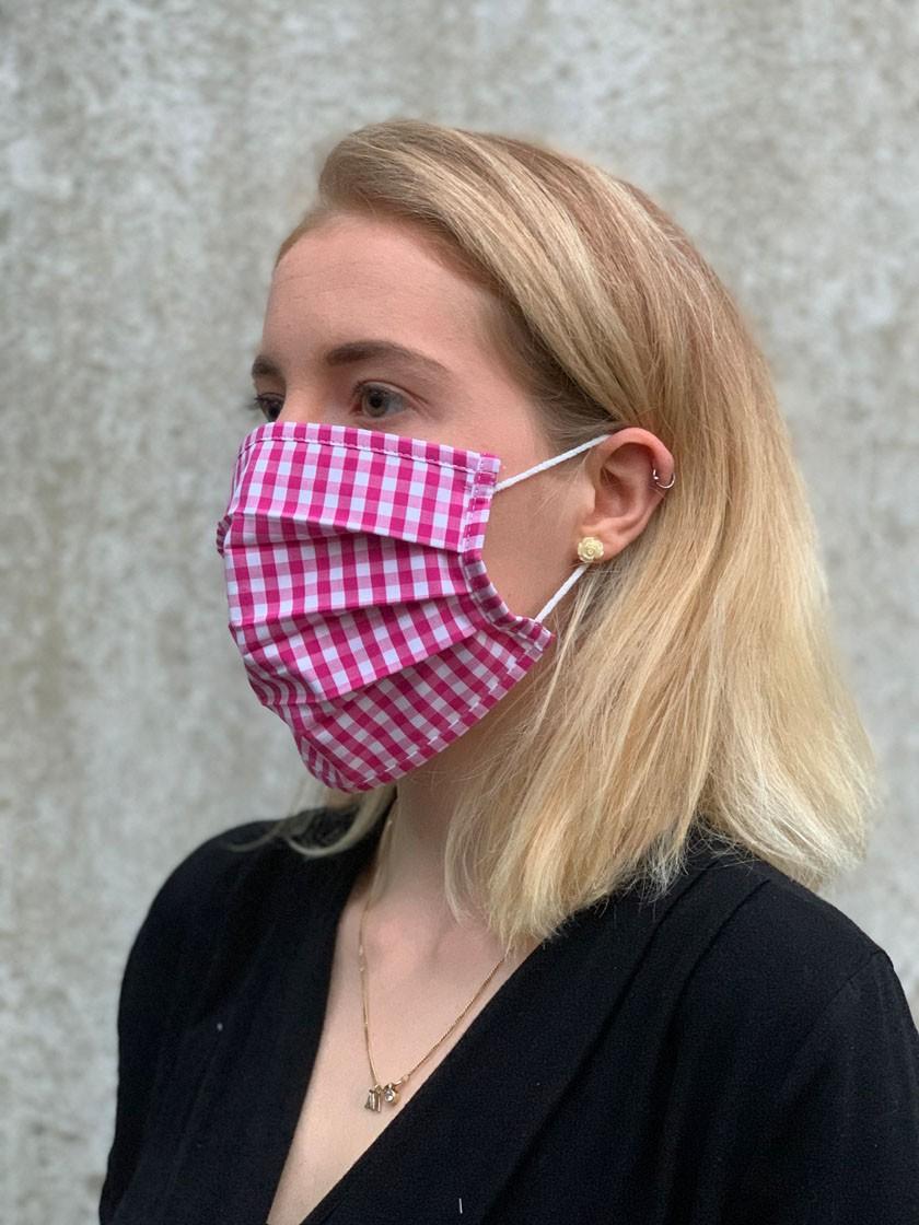 Mund-Nasen-Maske dunkelrot-kariert