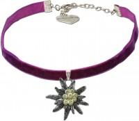 Vorschau: Samtkropfband großes Edelweiß lila