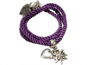 Braided Bracelet with Silver Charms, Purple