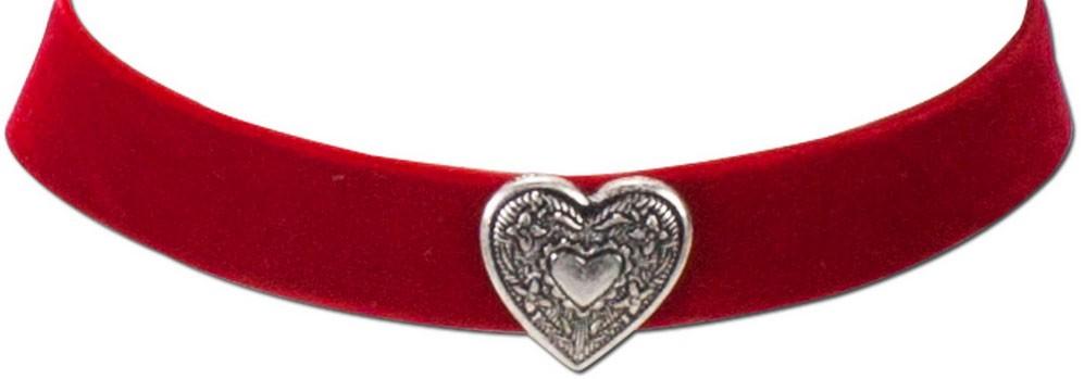 Samtkropfband breit mit Trachtenherz rot