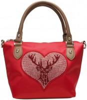 Vorschau: Trachten Handtasche mit Strass-Hirsch rot