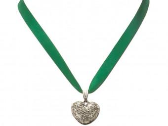 Satin Halskette mit Strassherzerl grün