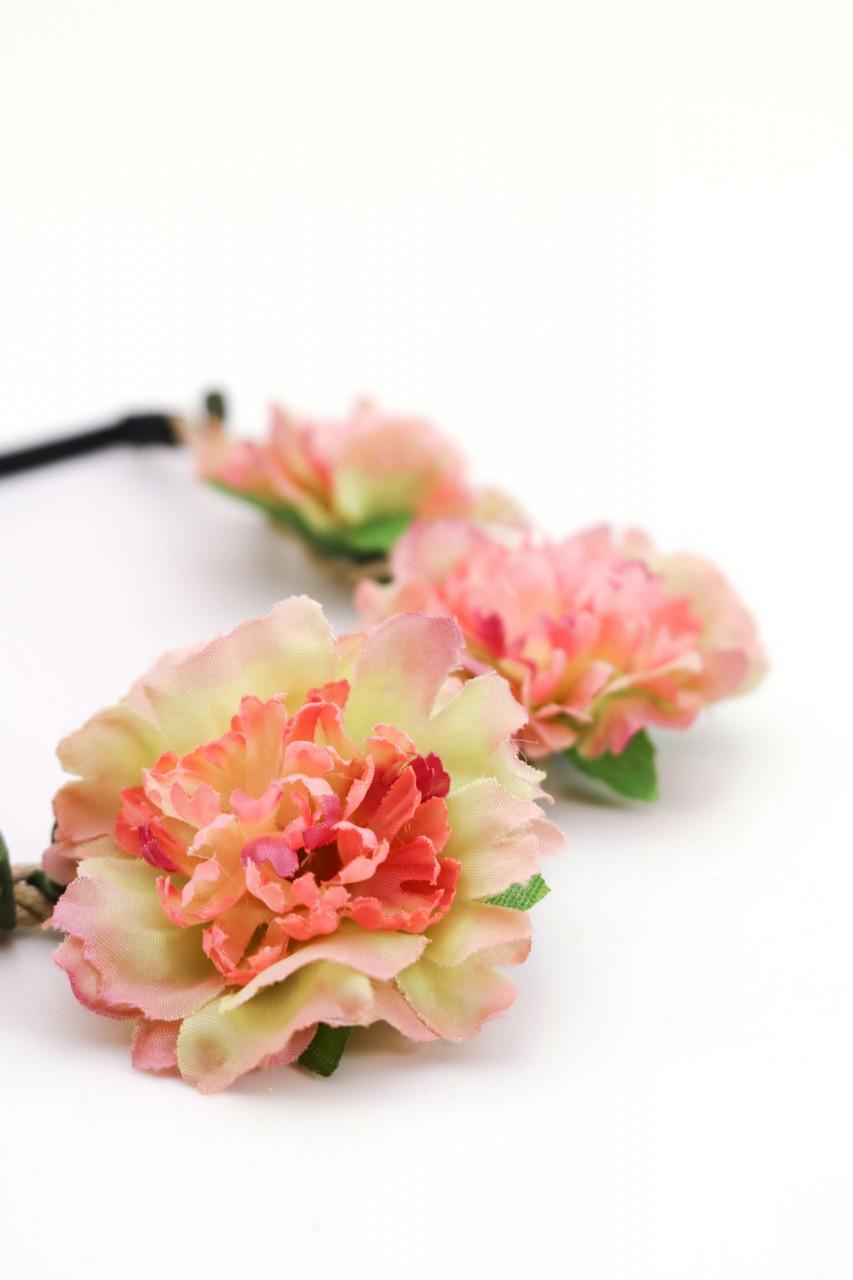 altrosa-grünes Blütenhaarband