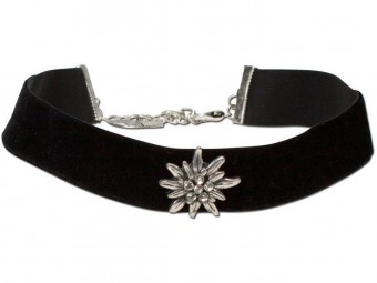 Thick Velvet Choker with Edelweiß, Black