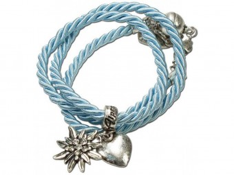 Braided Bracelet with Silver Charms, Light Blue