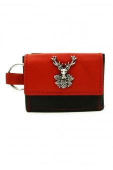 Schlüsselgeldbörse Hirsch schwarz-rot