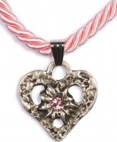 Kordelkette Herz mit Stein, rosa Rosa