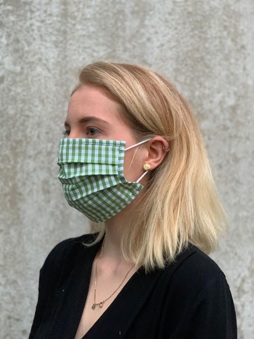 Mund-Nasen-Maske grün-kariert
