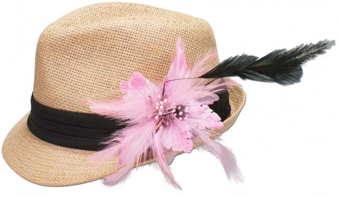 Strohhut Resi mit Federbrosche rosa