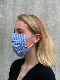 Mund-Nasen-Maske hellblau-kariert
