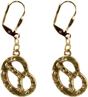 Ohrhänger Strass-Brezel altgold