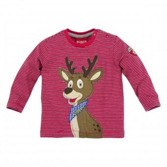 Kinder T-Shirt geringelt 'Hirsch'