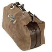 Preview: Handtasche Wildleder grau-braun