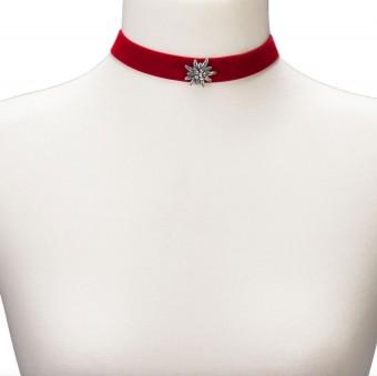 Samtkropfband breit mit Edelweiß rot