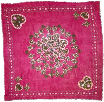 Trachten Neckerchief, Heart-Print, Pink
