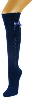 Ladies Stockings with Ruffle & Bow, Royal Blue