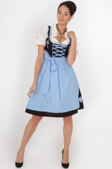 3-piece midi dirndl with blue floral skirt