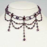 Glasperlen-Collier lila