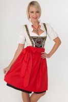 3-piece beige midi dirndl with red apron