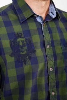 Trachtenhemd Woodsman grün/blau