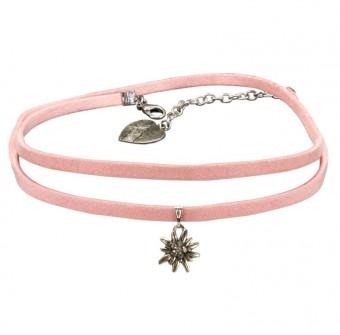 Wickelband-Halskette Edelweiß rosa