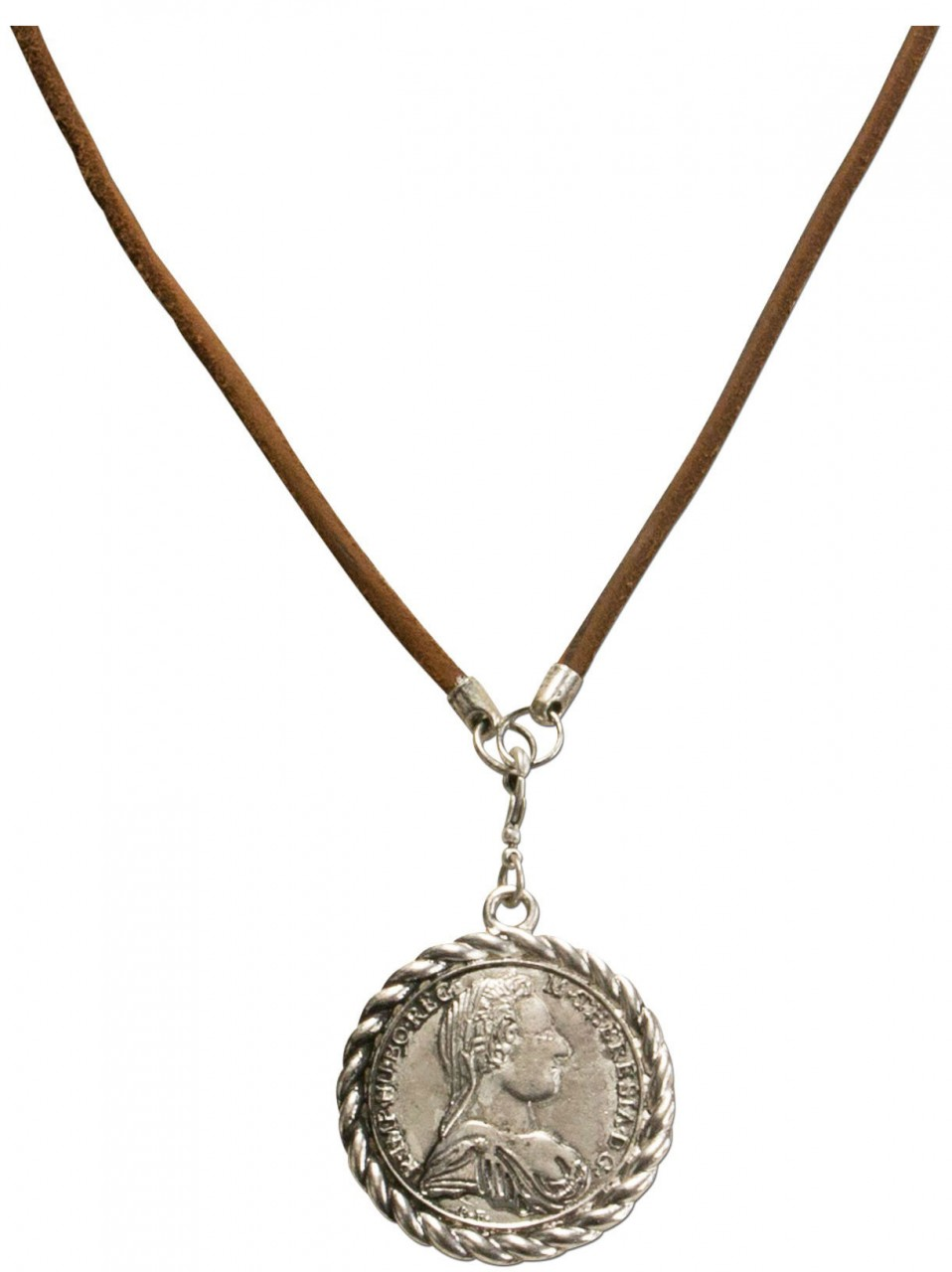 Lederhalskette Trachten-Münze braun