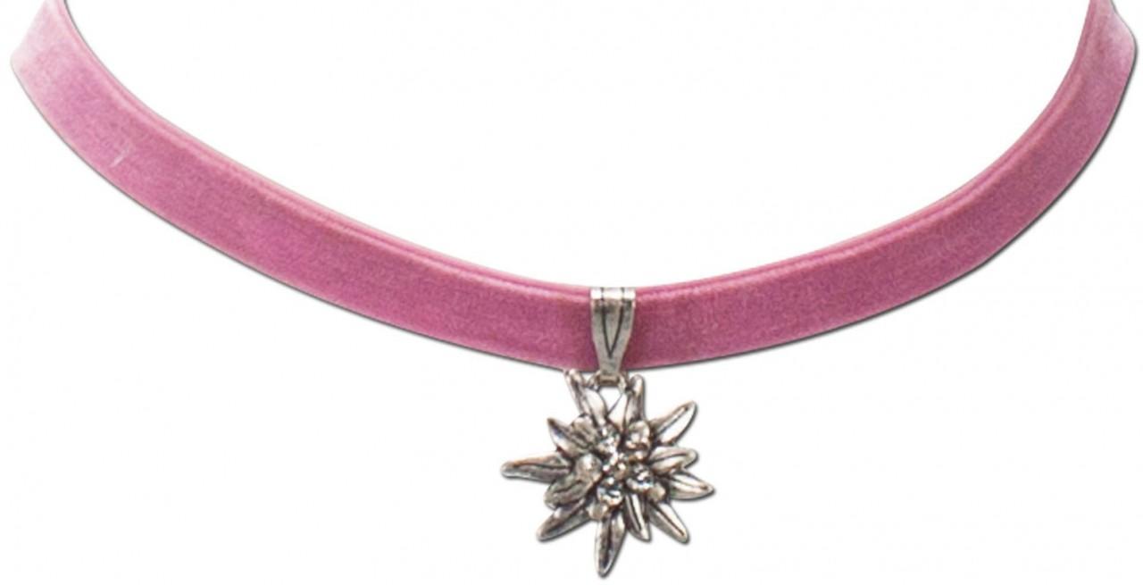 Fluwelen druppelband kleine edelweiss rosé