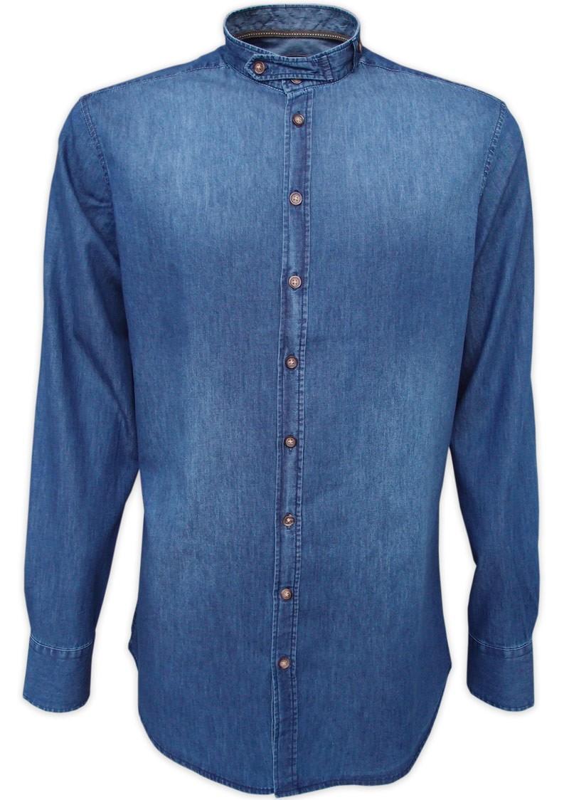 Traditioneel shirt Varys jeans opstaande kraag