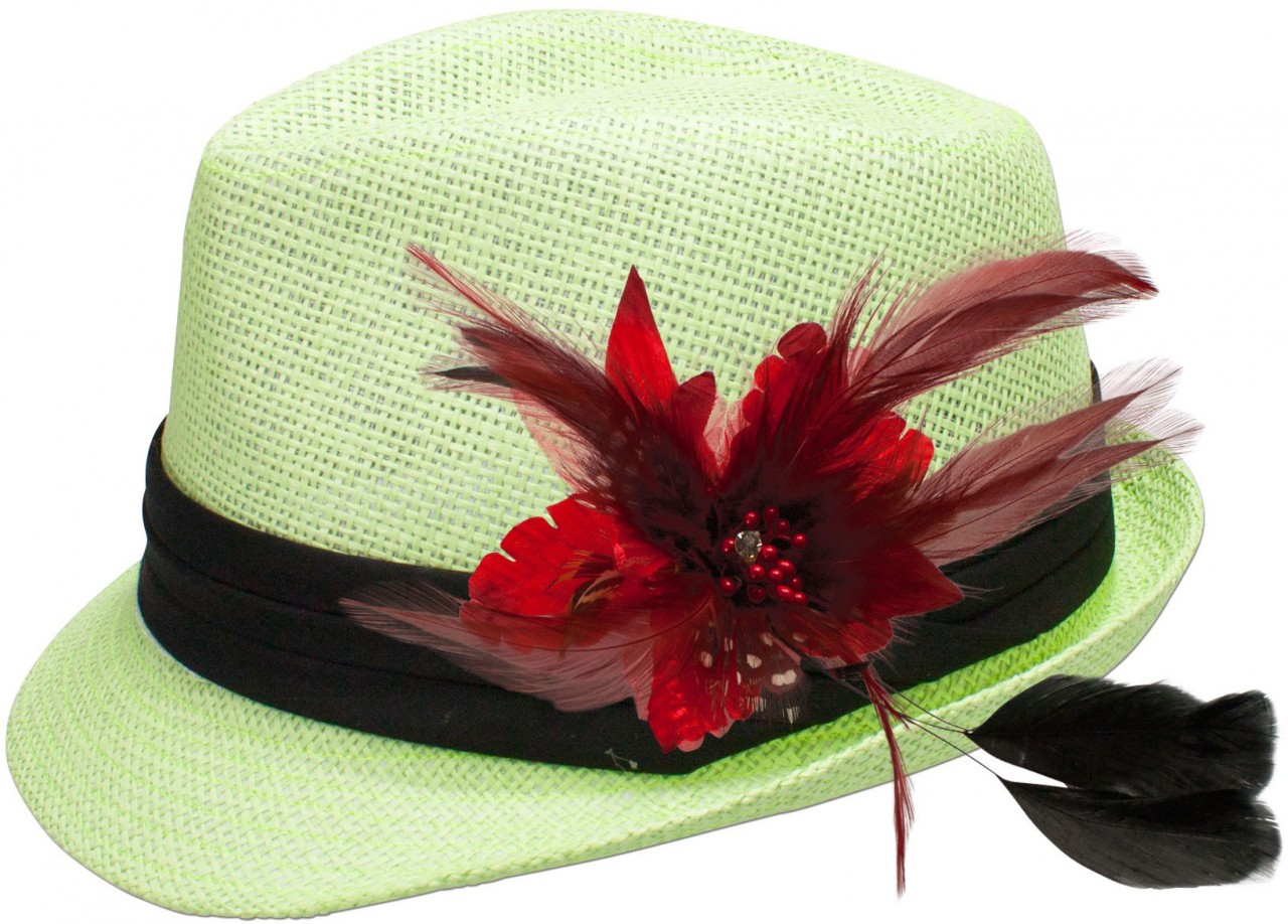 Straw hat Britta with red feather brooch
