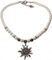 Vorschau: Perlenhalskette großes Edelweiß cremeweiß