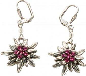 Ohrhänger Edelweißblüte pink
