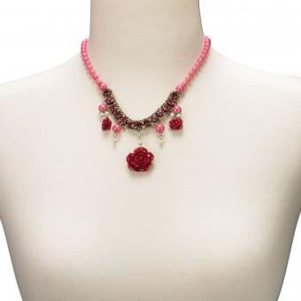 Perlenkette Blütentraum pink
