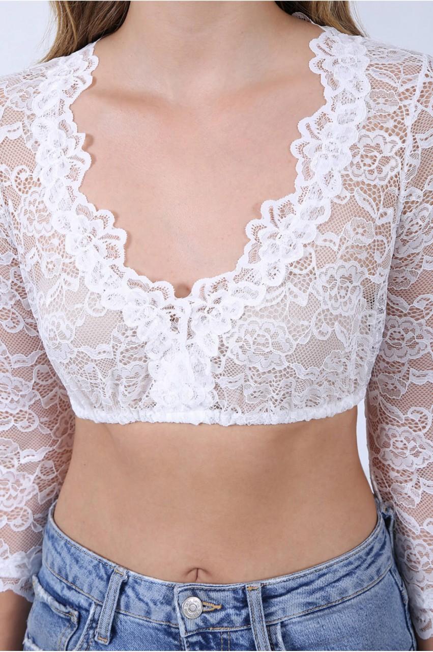 Dirndl blouse Cassandra 3/4 sleeves ecru