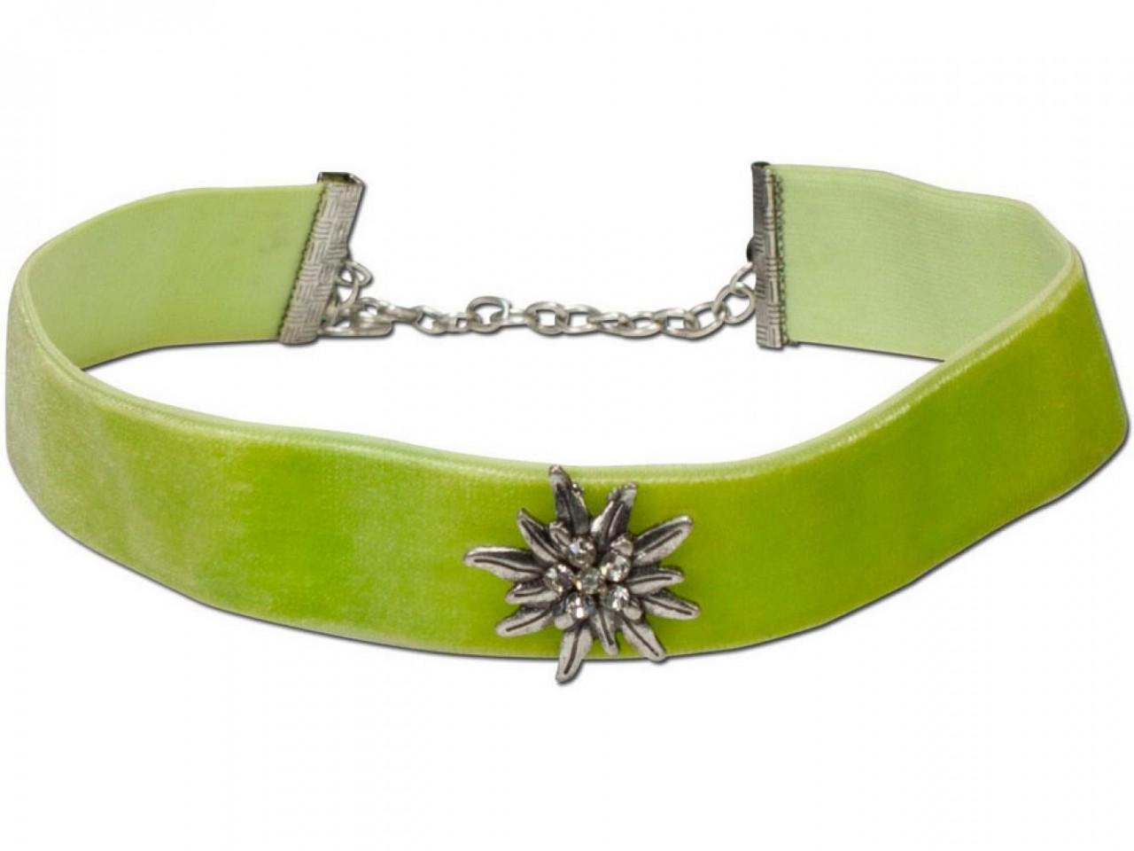 Samtkropfband breit mit Edelweiß hellgrün
