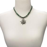 Vorschau: Perlenhalskette großes Edelweiß grün