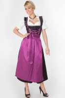 3-piece red longer-length dirndl with black fringed borders