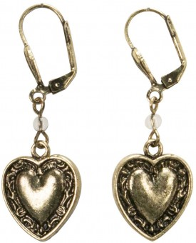 Trachten Earrings, Hearts, Old Gold