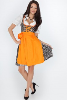 3-piece black dirndl with white polka dots